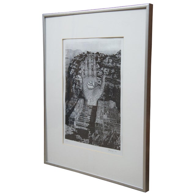 """Pencil signed Jud Yalkut 1994 collage photoprint """"To Rene Magritte: Forbidden Realm."""" / Jud Yalkut (1938-2013) was a..."""