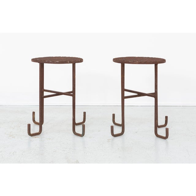 Metal Set of Chinoiserie Side Tables For Sale - Image 7 of 7