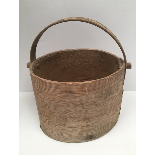 Primitive Antique Wood Butter & Cheese Basket For Sale - Image 3 of 10