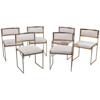 Set of 6 Dining Chairs in Brass Gold and Chrome by Willy Rizzo For Sale