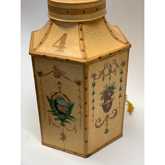 Vintage Of Yellow Lacquer hexagonal Tea Caddy Chinoiserie Lamps hand painted with flowers displayed in vase, in the basket...