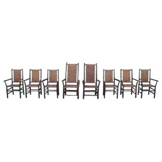 Set of Eight Matching Signed Old Hickory Dining Chairs For Sale