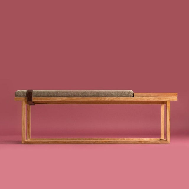 Ebb and Flow Tray Bench in Olive For Sale In New York - Image 6 of 6