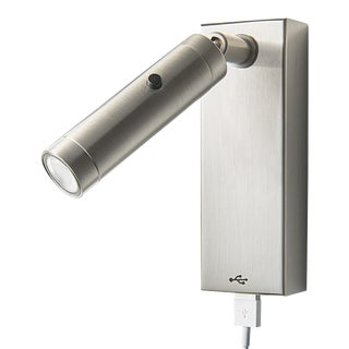 Brushed Nickel Led Focus Wall Reading Light With Rectangular Backplate and Usb Port For Sale