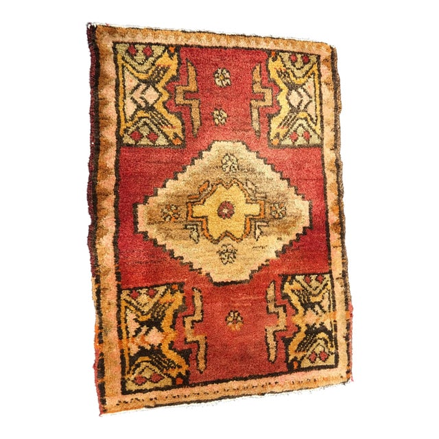 """Small Welcome Mat Size Vintage Turkish Anatolian Rug - 1'10""""x2'8"""" - Image 1 of 6"""