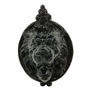 Vintage Black Lacquered Plaster Lions Head Wall Plaque For Sale