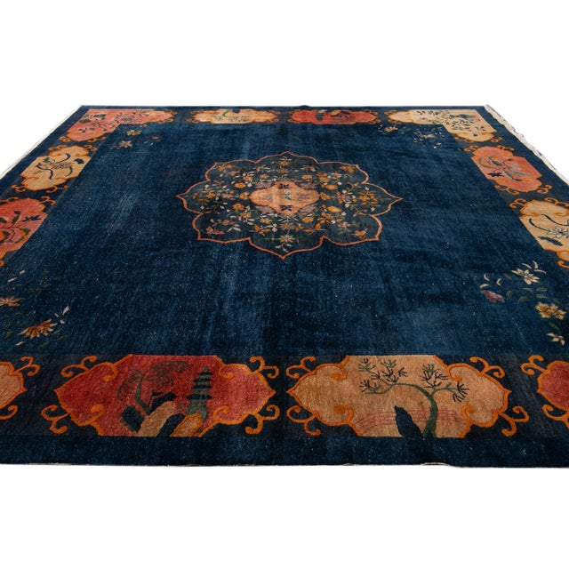 Textile Early 20th Century Antique Art Deco Chinese Square Wool Rug 13 X 12 For Sale - Image 7 of 13