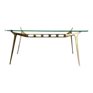 Cesare Lacca Brass Coffee Table With Glass Top For Sale