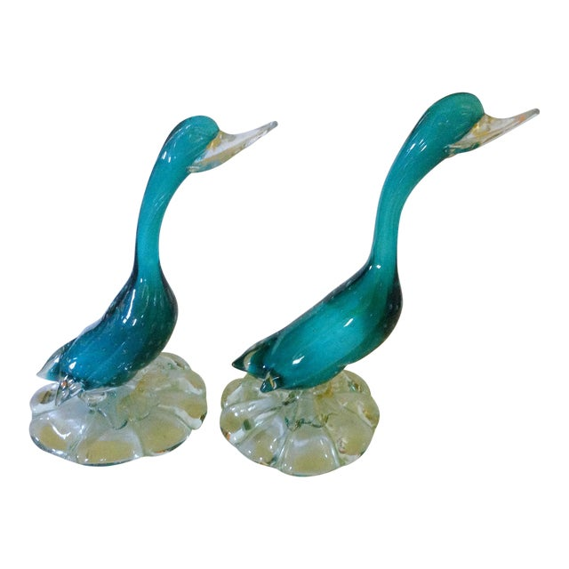 Murano Aqua Ducks - A Pair