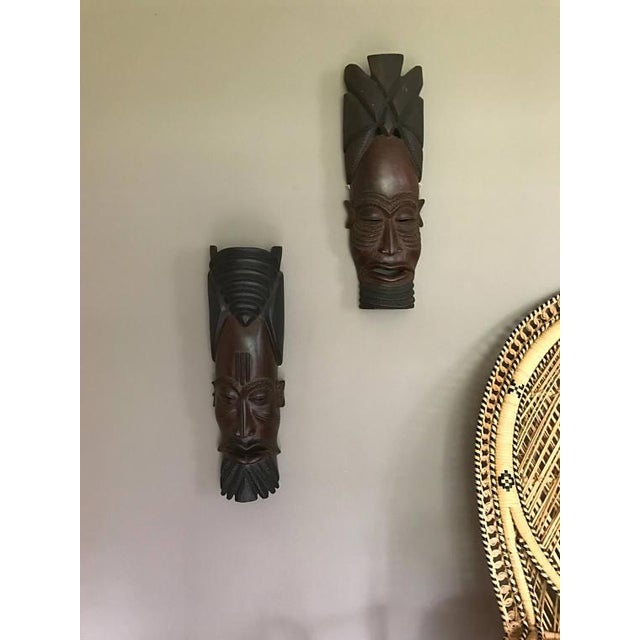 Boho Chic Vintage Hand-Carved Tribal Warrior Masks - A Pair For Sale - Image 3 of 6