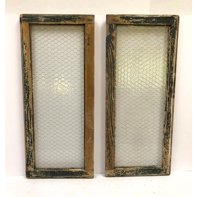 1890s Vintage Salvaged Police Station Chicken Wire Windows - a Pair For Sale - Image 13 of 13