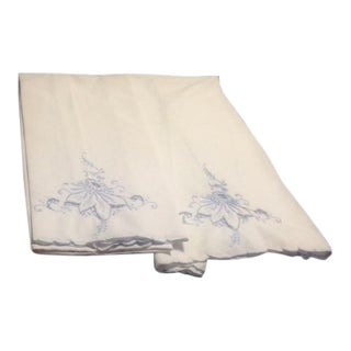 Vintage White & Blue Embroidered Pillowcases - A Pair For Sale