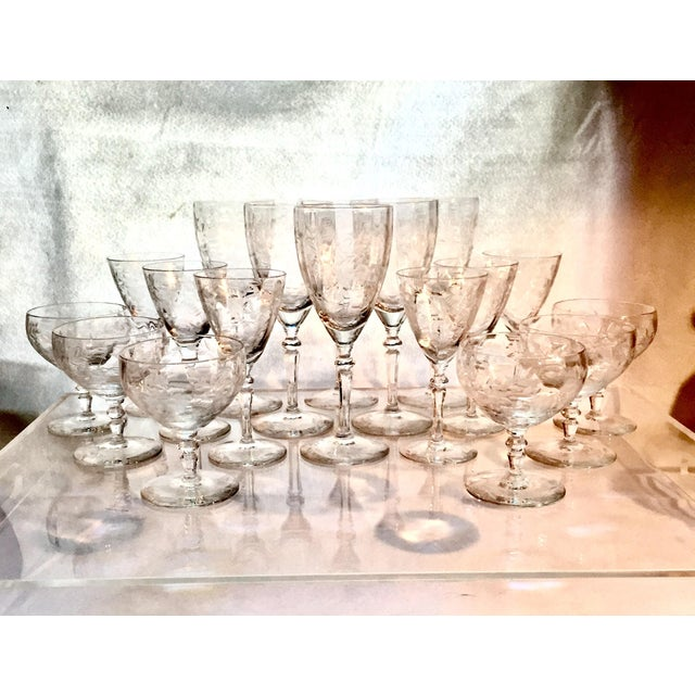 This is a stunning set of antique Art Deco etch crystal glassware. With a set of 6 for three sizes: Set of (6) Wine...