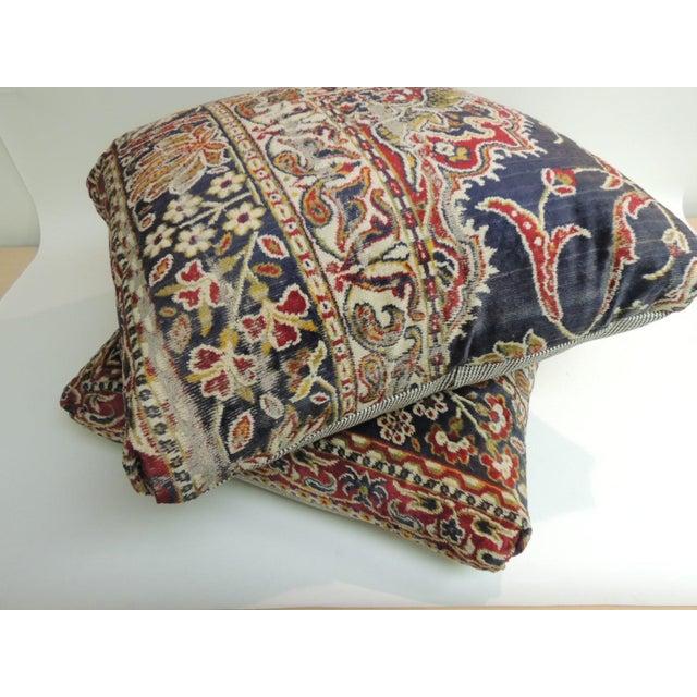 Boho Chic Vintage Large Cotton Velvet Floral Turkish Floor Pillow For Sale - Image 3 of 5