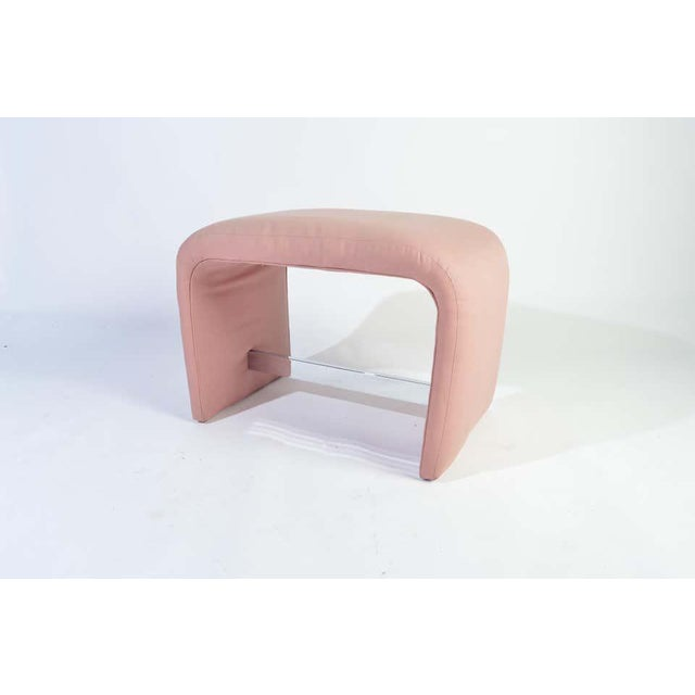 Milo Baughman waterfall ottoman bench having chrome stretcher in original soft pink cotton upholstery. Beautiful...