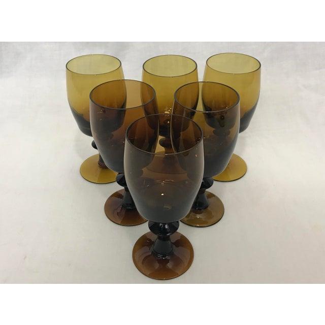 1960s Amber Stem Glasses - Set of 6 - Image 4 of 8