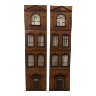Vintage Georgian Style Leather Covered Panels - a Pair For Sale