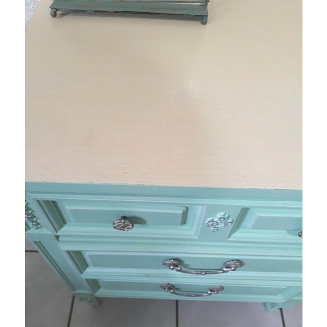 Chalk Aqua Blue Chalk Paint Writing Desk For Sale - Image 7 of 8