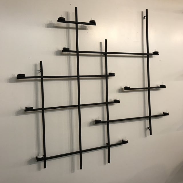 1960s Vintage Mid-Century Modern Wrought Iron Tea Light Holder Wall Hanging For Sale In Cleveland - Image 6 of 6