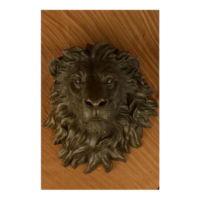 Wall Mount Lion Head Bust Bronze Sculpture For Sale - Image 4 of 8