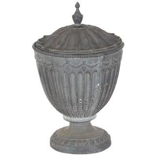 Antique Large Outdoor Lidded Metal Urn
