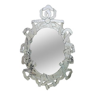 Large Venetian Mirror with Ribbon Motif, Italy, 1950s For Sale