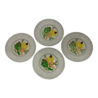 Vintage Hand-Painted Fitz & Floyd 'Garden Basket' Display Plates- Set of 4 For Sale
