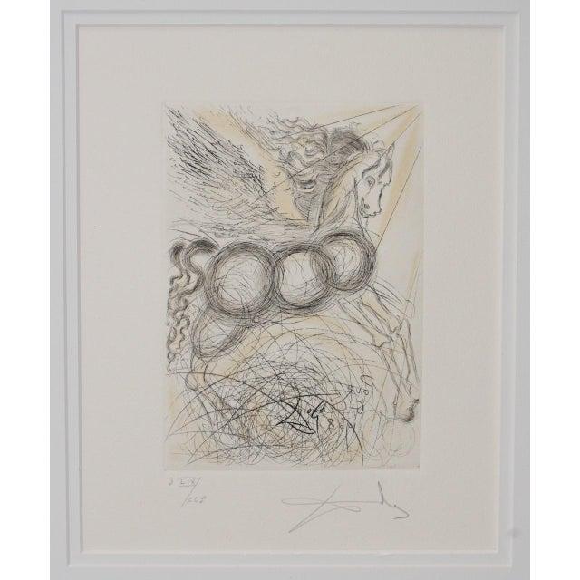 "Black Salvador Dali ""Pegasus"" Reverse Plate Signed Etching C.1970s For Sale - Image 8 of 8"