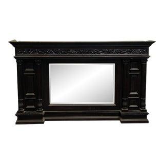 Antique Victorian Wood Beveled Mirror Mantel