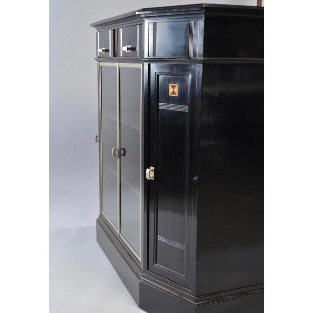 Aluminum Art Deco Ebonized Cabinet With Aluminum Trim and Glass Doors For Sale - Image 7 of 11