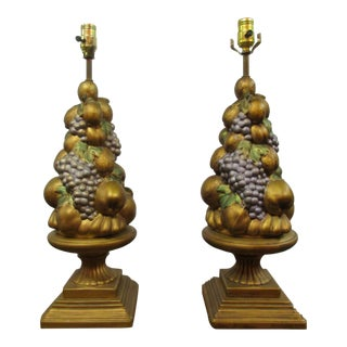1950s Vintage Golden Fruit Topiary Lamps - a Pair For Sale