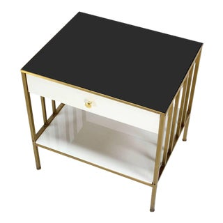 Solid Brass Mid Century Modern End Side Table On e Drawer Stand. For Sale