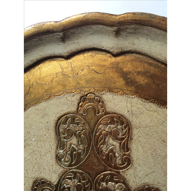 Italian Vintage Florentine Carved Gold and Cream Tray For Sale - Image 3 of 6