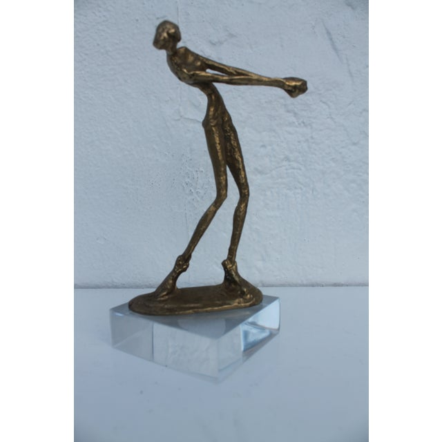 Vintage mid-century modern Diego Giacometti Style brutalist abstract woman figure solid brass and lucite base decorative...