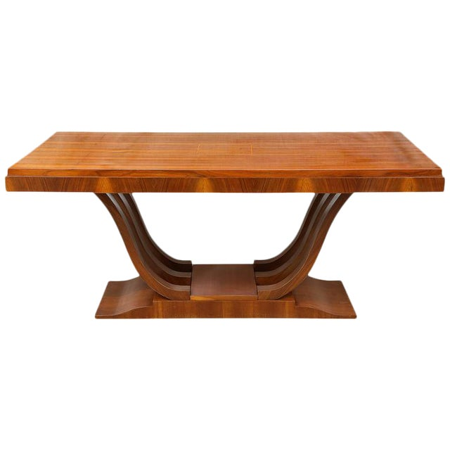 French Art Deco Wooden Rectangular Extension Dining Table For Sale