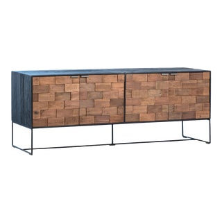 Salvaged Wood Brick Media Cabinet For Sale