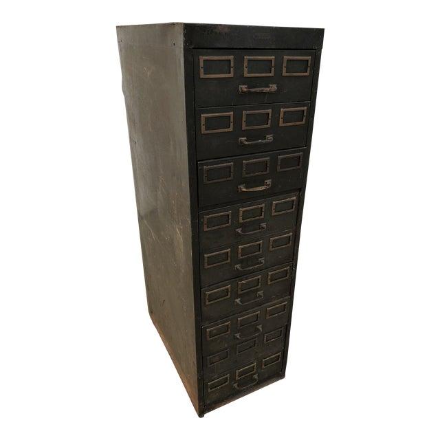 Vintage Industrial Green Steel Filing Cabinet For Sale