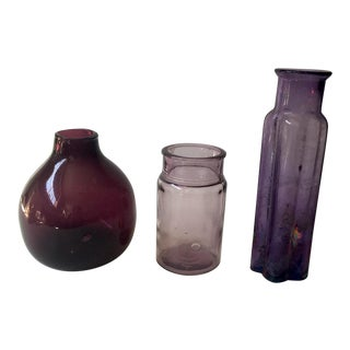 Vintage Purple Glass Bottles - Group of 3 For Sale
