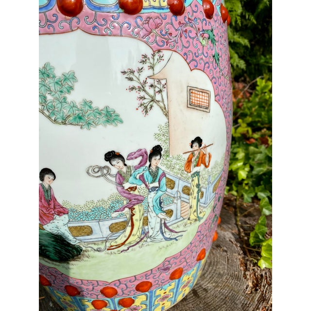 Vintage Mid-Century Chinese Famille Rose Porcelain Garden Seat For Sale - Image 10 of 13