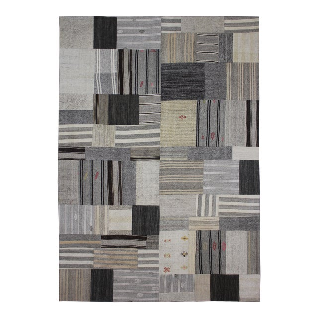 "Hand Knotted Patchwork Kilim by Aara Rugs Inc. - 12'1"" X 8'10"" - Image 1 of 4"