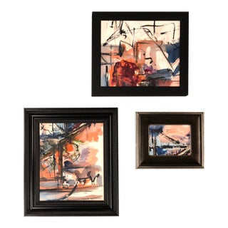 Vintage Gallery Wall Set 3, Original Abstract Watercolor Paintings For Sale
