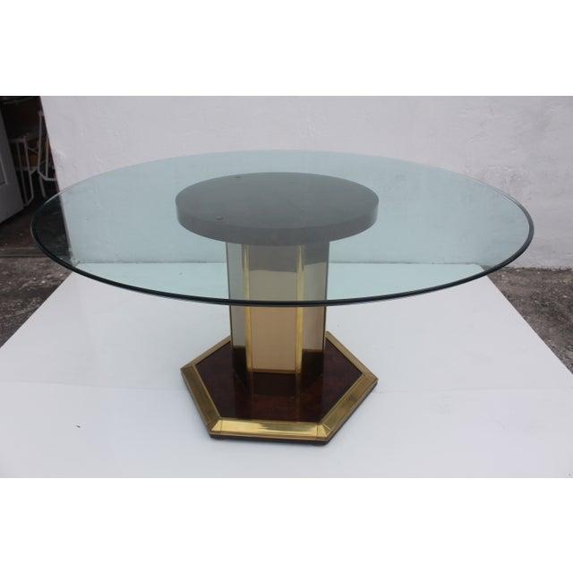 Mastercraft Vintage Burl Wood & Brass Dining Table For Sale - Image 10 of 11