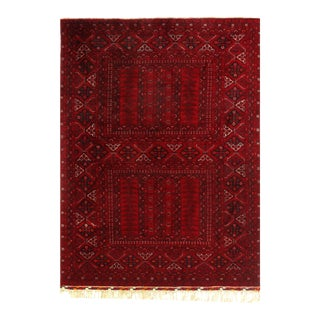 Red Color Fine Hand Knotted Vintage Balouchi Rug 6' X 8'2'' For Sale