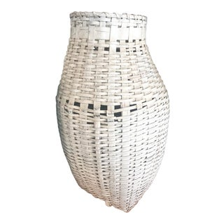 Vintage Woven White Feather Gathering Basket For Sale