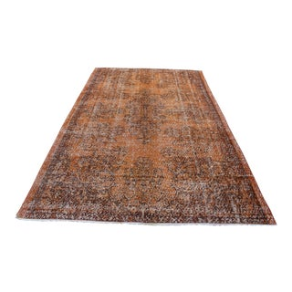 1970s Vintage Turkish Oushak Overdyed Rug - 5′9″ × 9′5″ For Sale