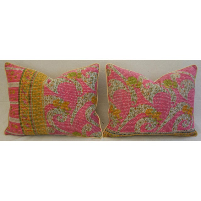 Yellow Vintage Kantha Textile Pillows - a Pair For Sale - Image 8 of 11