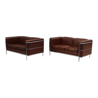 1980's Jack CartWright Chrome And Leather Loveseats
