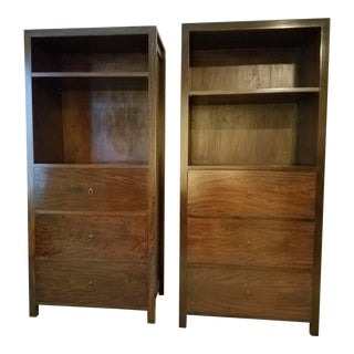 Vintage Benda 16 Indonesian Custom Mango Wood Display & File Cabinets - A Pair