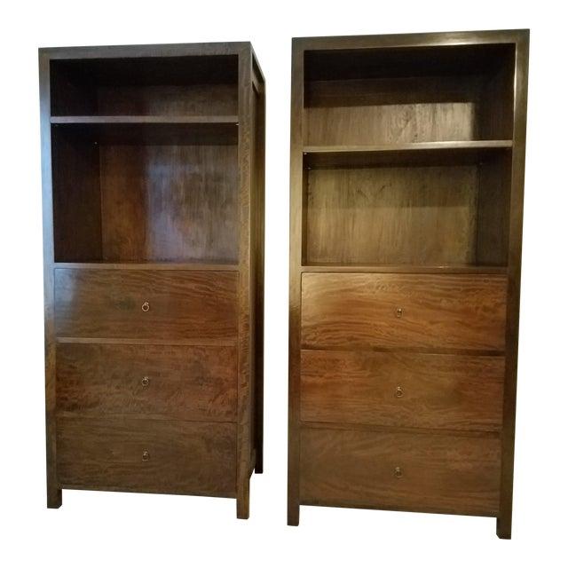 Vintage Benda 16 Indonesian Custom Mango Wood Display & File Cabinets - A Pair For Sale