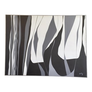 1960s Abstract Expressionism Black and White Hard-Edge Painting by Harold Zabitz